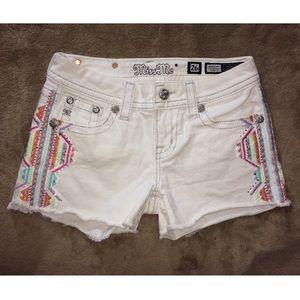 Rare Miss Me white Jean shorts pastel Aztec print